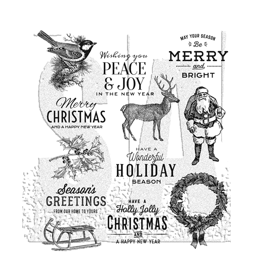 Tim Holtz Cling Rubber Stamps 2018 FESTIVE OVERLAY CMS357 Preview Image