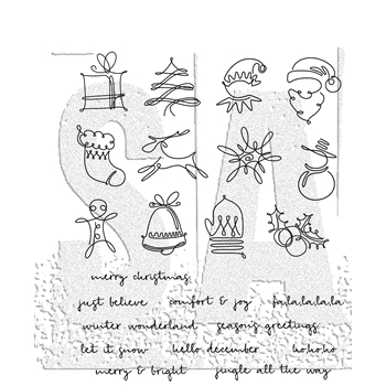 RESERVE Tim Holtz Cling Rubber Stamps 2018 DECEMBER DOODLES CMS355