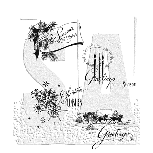 Tim Holtz Cling Rubber Stamps 2018 HOLIDAY GREETINGS CMS353 Preview Image