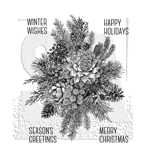 Tim Holtz Cling Rubber Stamps 2018 GLORIOUS GATHERINGS WITH GRID BLOCK CMS351 Preview Image
