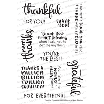 Newton's Nook Designs THANKFUL THOUGHTS Clear Stamps NN1809S04