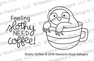 Newton's Nook Designs SLOTHY COFFEE Clear Stamps NN1809S07