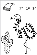 Flora and Fauna MINI DESERT FLAMINGO Clear Stamps 20210