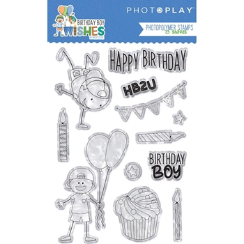 PhotoPlay BIRTHDAY BOY WISHES Clear Stamps bwb9086