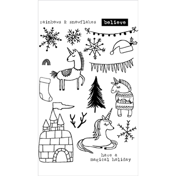 Flora and Fauna UNICORN ICE CASTLE Clear Stamps 20199