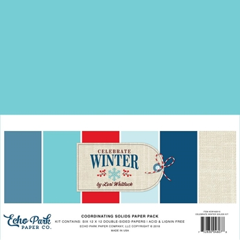 Echo Park CELEBRATE WINTER 12 x 12 Double Sided Solids Paper Pack cw162015