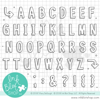 Ink Blot Shop Clear Stamp Set BIG BLOCK ALPHABET inbl045