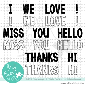 Ink Blot Shop Clear Stamp Set BIG BLOCK GREETINGS inbl046