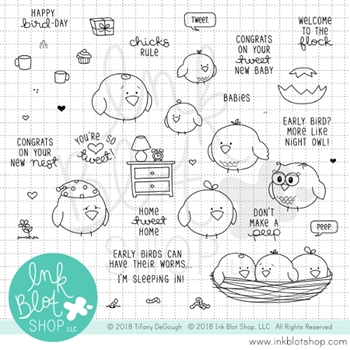 Ink Blot Shop Clear Stamp Set TWEET TALK inbl048