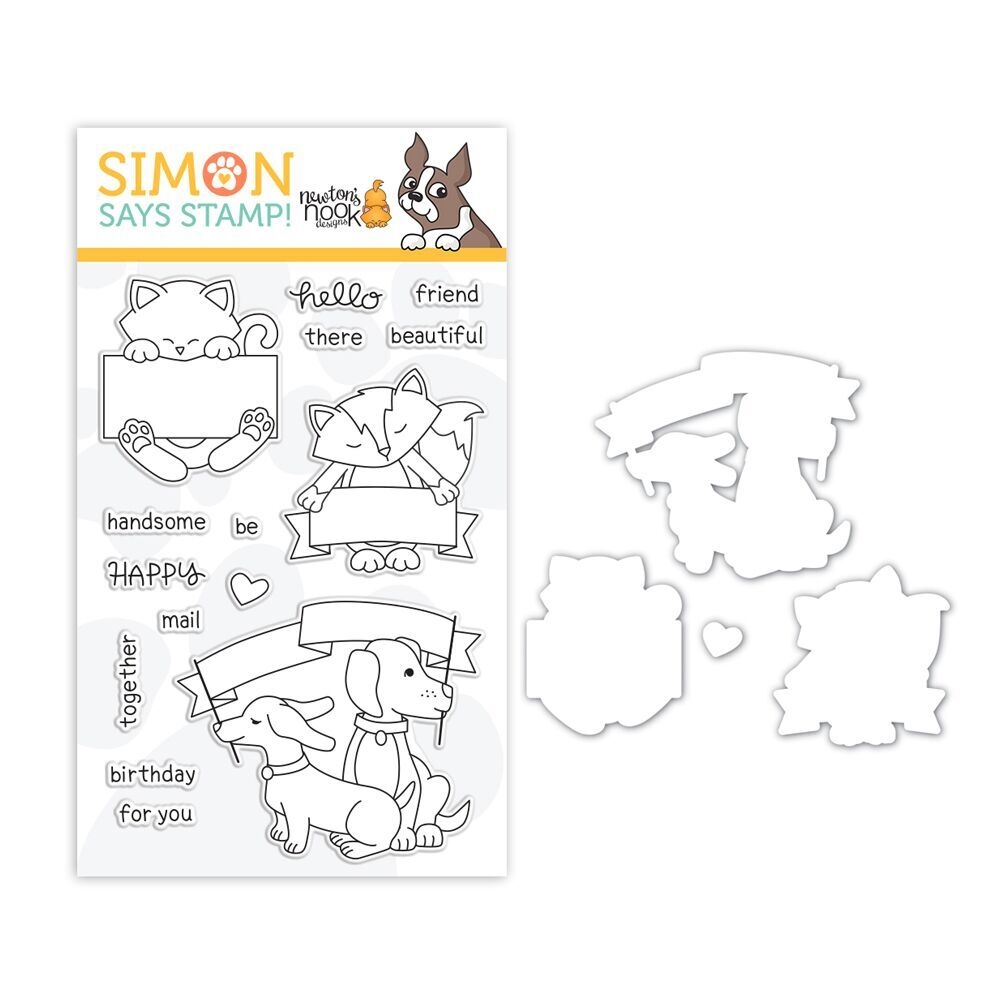 Newton's Nook Clear Stamp and Die Set HELLO BEAUTIFUL SR18SETNNB STAMPtember Exclusive zoom image