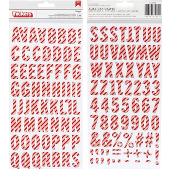 Pebbles Inc. CANDY CANE Alphabet Cozy and Bright Thickers Stickers 733932