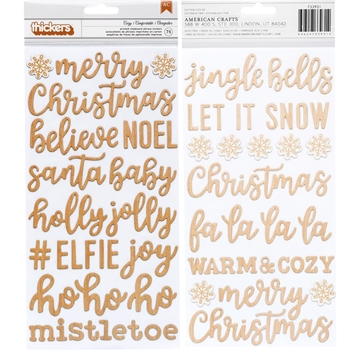Pebbles Inc. COZY AND BRIGHT PHRASES Thickers Stickers Printed Chipboard 733931
