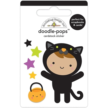 Doodlebug CUTE KITTY Doodle Pops 3D Stickers Pumpkin Party 6155