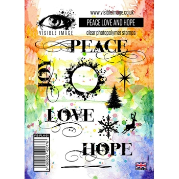 Visible Image PEACE LOVE AND HOPE Clear Stamps VIS-PLH-01