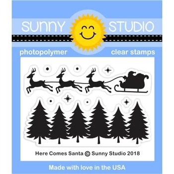Sunny Studio HERE COMES SANTA Clear Stamps SSCL-209