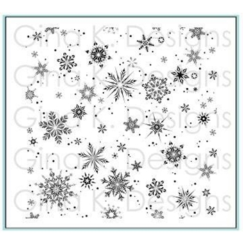 Gina K Designs DELICATE SNOWFLAKES Cling Background Stamp 3283