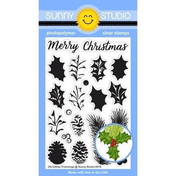 Sunny Studio CHRISTMAS TRIMMINGS Clear Stamp Set SSCL-205
