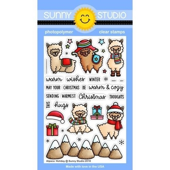 Sunny Studio ALPACA HOLIDAY Clear Stamps SSCL-206