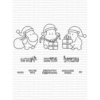 Clearly Besotted HIPPO CHRISTMAS Clear Stamps