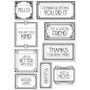 Memory Box Clear Stamps ART DECO FRAMES AND PHRASES POPPY STAMPS cl472