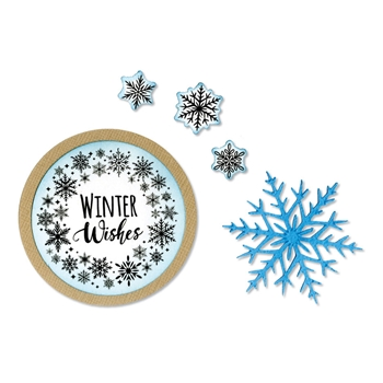 Sizzix Framelits SNOWFLAKE WREATH Combo Die and Stamp Set 663169