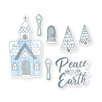 Sizzix Framelits CHURCH, PEACE ON EARTH Combo Die and Stamp Set 663163