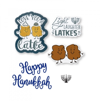 Sizzix Framelits LOVE YOU A LATKE Combo Die and Stamp Set 663167