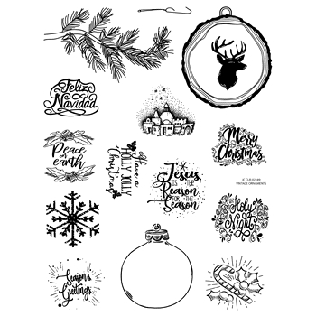 Joy Clair VINTAGE ORNAMENTS Clear Stamp Set clr02189