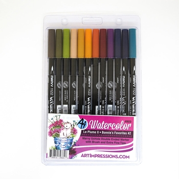 Art Impressions BONNIE'S FAVORITES 2 Watercolor Marvy Le Plume II Uchida Double Ended Markers 4923
