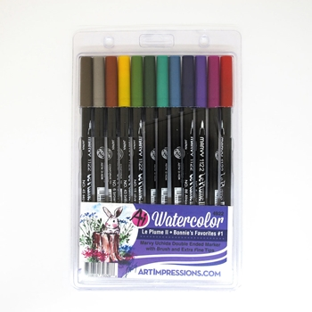 Art Impressions BONNIE'S FAVORITES 1 Watercolor Marvy Le Plume II Uchida Double Ended Markers 4922