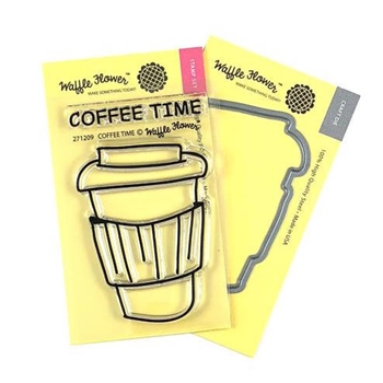 Waffle Flower COFFEE TIME Clear Stamps and Die Combo WFC209