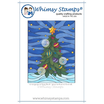 Whimsy Stamps STAINED GLASS CHRISTMAS TREE Rubber Cling Stamp sgd107