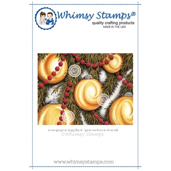 Whimsy Stamps ORNAMENTS BACKGROUND Rubber Cling Stamp da1095