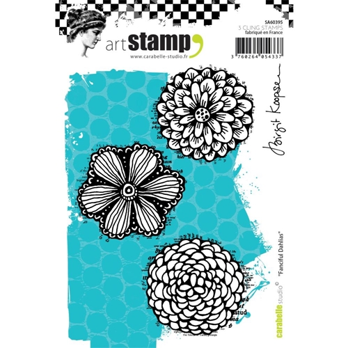 Carabelle Studio FANCIFUL DAHLIAS Cling Stamp sa60395 Preview Image