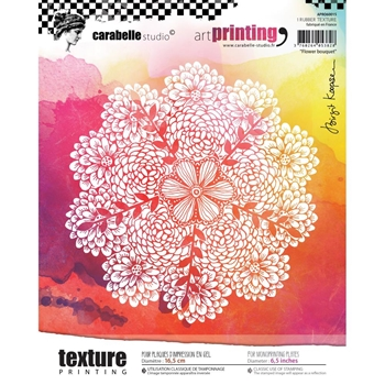 Carabelle Studio FLOWER BOUQUET Art Printing Texture Plate Round apro60015