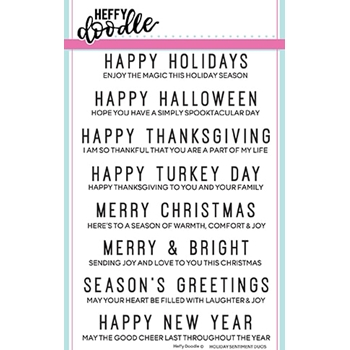 Heffy Doodle HOLIDAY SENTIMENT DUOS Clear Stamps hfd0091