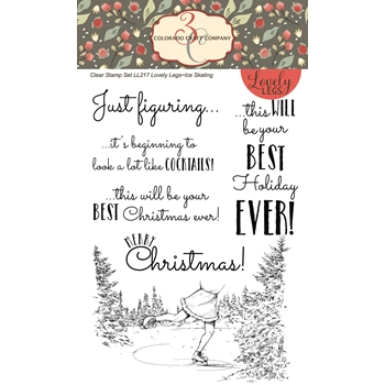 Colorado Craft Company Lovely Legs ICE SKATING Clear Stamps LL217