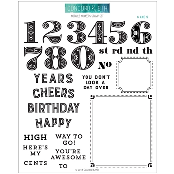 Concord & 9th NOTABLE NUMBERS Clear Stamp Set 10485