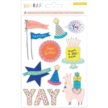Crate Paper HOORAY Dimensional Stickers 344586