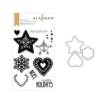 Altenew PEACE LOVE JOY Clear Stamp and Die Set ALT2688