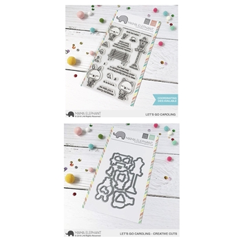 Mama Elephant Clear Stamp and Die MEPT551 Let's Go Caroling SET