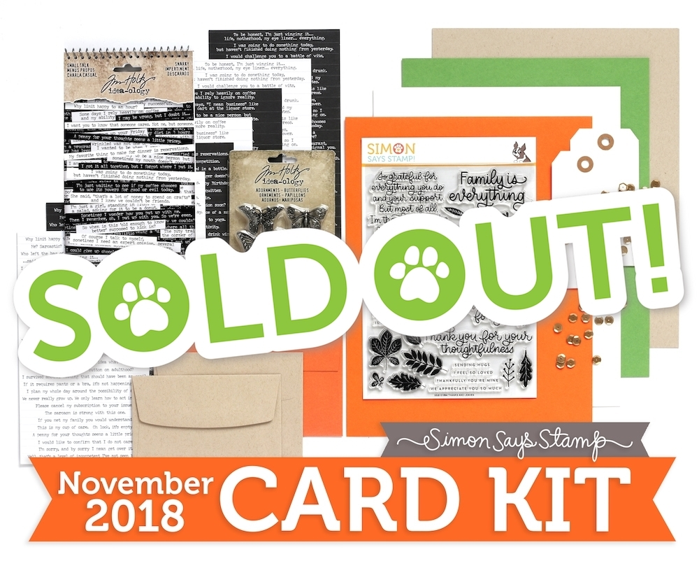 Simon Says Stamp Card Kit of The Month NOVEMBER 2018 THANKS AND LEAVES ck1118 zoom image