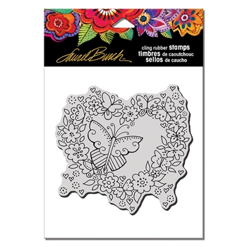 Stampendous Cling Stamp BUTTERFLY HEART Laurel Burch lbcw014