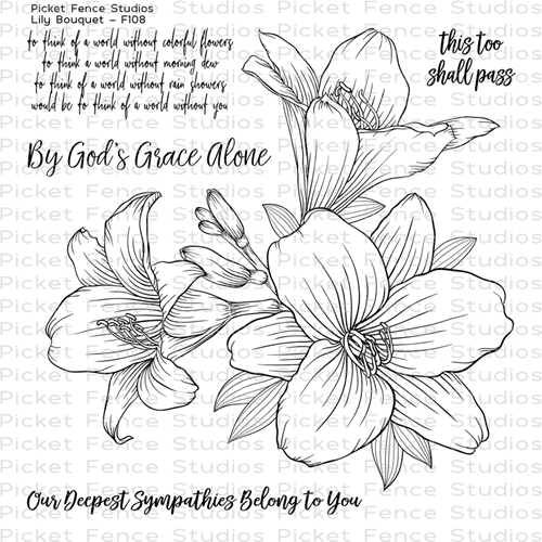 Picket Fence Studios LILY BOUQUET Clear Stamp Set f108 Preview Image