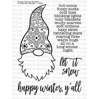 Picket Fence Studios A GNOME WINTER Clear Stamp Set