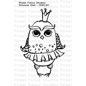 Picket Fence Studios PRINCESS OWL Clear Stamp owl107