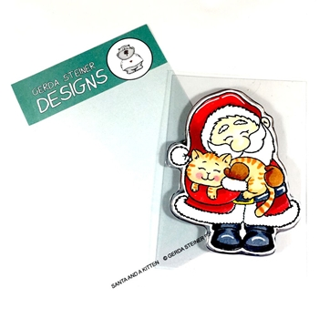 Gerda Steiner Designs SANTA AND A KITTEN Clear Stamp Set gsd649
