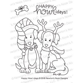 Newton's Nook Designs HAPPY HOWL-IDAYS Clear Stamps NN1810S06