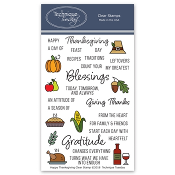 Technique Tuesday HAPPY THANKSGIVING Clear Stamps 02726