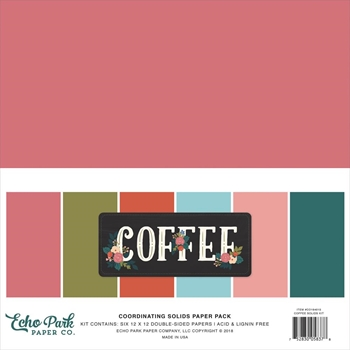 Echo Park COFFEE 12 x 12 Double Sided Solids Paper Pack co164015